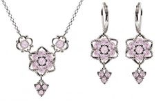 925 Sterling Silver Necklace and Earrings Set Amazingly Designed by Lucia Costin with Twisted Lines and 4 Petal Flowers Enriched with Fancy Charms and Lilac Swarovski Crystals -- Want to know more, click on the image.