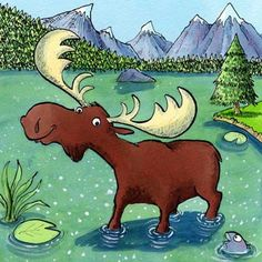 Moose by Mike Gibbie Funny Moose, Moose Pictures, Chocolate Moose, Asian Cards, Deer Family, Watercolor Animals, Funny Art, Rock Art, Les Oeuvres