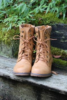 Folktales Wheat Lace Up Combat Boot With Sweater Details & Back Zipper