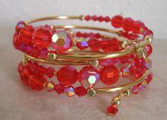 Coil Bracelet - Red Crystal