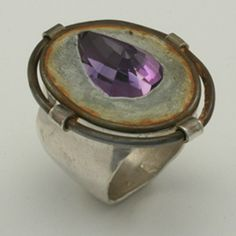 Ring | Jim Cotter.  Sterling silver, steel, concrete set with Amethyst.
