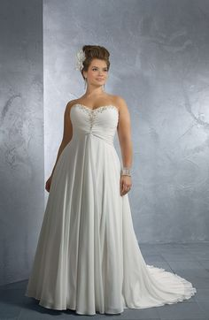 010a6827d5a Junoesque Empire Sweetheart Floor-Length Chapel Beaded Plus Size Wedding  Dresses