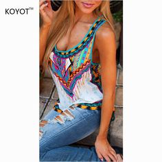 14dde33dde8a2 NEW 2017 Summer Fashion Women Sleeveless Casual Loose Tribal Print Blouses  Blusas femme Sexy Ladies Boho Beach Tops Shirts-in Blouses   Shirts from  Women s ...