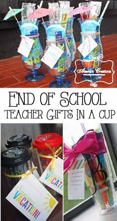 End of the School Year Teacher Appreciation Gift - Summer kit in a cup Teacher Gift Baskets, Best Teacher Gifts, Teacher Year End Gifts, Preschool Teacher Gifts, School Gifts, Teacher Gift Tags, Student Gifts, Teacher Signs, Summer Gift Baskets