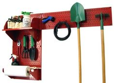Wall Control Pegboard Garden Supplies Storage and Organization Garden Tool Organizer Kit with Red Pegboard and Red Accessories by Wall Control, http://www.wallcontrol.com/pegboard-garden-tool-board-organizer-kit-red-pegboard-red-accessories/