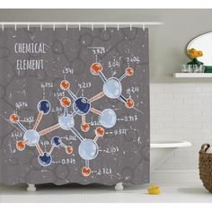 Free Shipping. Buy Grunge Shower Curtain, Chemistry Laboratory with Display Formula Science Graphic Design, Fabric Bathroom Set with Hooks, 69W X 84L Inches Extra Long, Grey Light Blue Indigo Red, by Ambesonne at Walmart.com