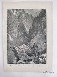 Engraved Print depicting 'A Canyon In The Wahsatch Mountains, Utah Territory'. Back & white print from an old book dating to the late Century - Circa Printed text to reverse. Antique Prints, Vintage Prints, Retro Vintage, Engraving Printing, Old Books, Utah, 19th Century, Tapestry, Mountains