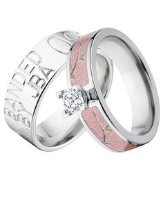 Look no further than this great set! Truly customizable ring for him and a beautiful pink Realtree engagement ring for her. Both for the price of one.
