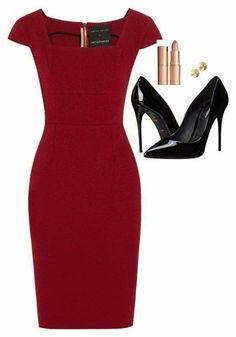 ce53d364f9cf Строгий силуэт в платьях 1 Kontorskläder, Professionella Outfits, Eleganta  Kläder, Röda Skor,