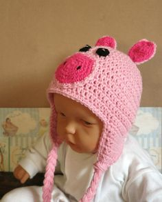 Hey, I found this really awesome Etsy listing at https://www.etsy.com/listing/116369196/crochet-pig-beanie-baby-beanie-crochet