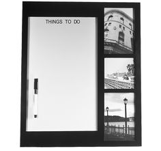 Picture Memo Board With 3 Photo Frames, Dry Erase Board and Dry Erase Marker