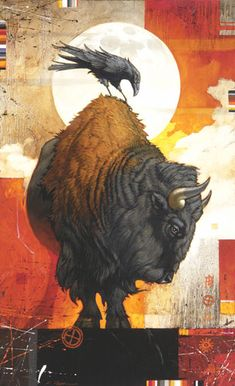 "Original pinner said: ""A Craig Kosak painting of the native american totem animals, bison and raven « « Mayhem & Muse"" So beautiful! Crow Art, Raven Art, Native American Totem, Buffalo Art, Buffalo Painting, Illustration Photo, Power Animal, Crows Ravens, Surrealism Painting"