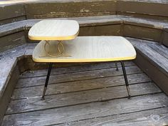 Mid Century Laminate and Wood 2 Tiered End by PinkandBlackVintage