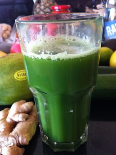 GreenMaster Juice    Ingredients:    2 stalks Kale    4-5 stalks Celery    1 Cucumber    1/2 Lemon    2 tsp Ginger    1 Apple    1 2 cups of Coconut Water