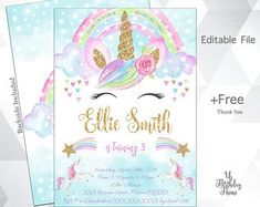 This item is unavailable Kids Birthday Party Invitations, Birthday Invitations Kids, Unicorn Birthday Parties, Birthday Ideas, Rainbow Invitations, Fourth Birthday, Girl Birthday, Party Kulissen, Party Guests