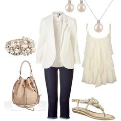 Summer Chic... so fresh and clean! I need a white blazer