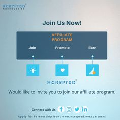 Introducing #NCryptedPartners Program. Join our partners' program to connect with 100+ country users, create new revenue streams, and enjoy a faster way to build your business. Partners Program: Promote our product and earn 40% commission. Ideal for entrepreneurs, freelancers, digital agencies, software companies, or consultants. Interested? #PartnerProgram #affiliatepartner #makemoney #workfromhome #earningonline #affiliateprogram #freelancers #entrepreneurs #digitalagency Affiliate Partner, Programing Software, Business Tips, Programming, Connect, Entrepreneur, How To Make Money, Join, How To Apply