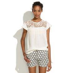 Madewell Crochet Lace Top - Small NOW: $50.00; WAS: $98.00 Ivory 100% silk short sleeve blouse featuring a crochet lace yoke Designer: Madewell Condition: New with Tags