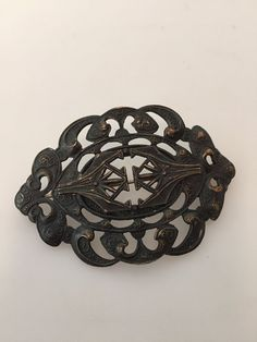 1880s Vintage Victorian MOURNING Brooch Brass by thepopularjewelry