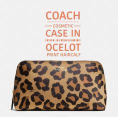 COACH COSMETIC CASE in OCELOT PRINT HAIRCALF COACH cosmetic case in ocelot print haircalf. I have two of these in different sizes. Inside open multifunction pocket. Zip top closure. Fabric lining. The colors are gold and neutral., black & tan(ocelot). See pics for actual colors. This case is very roomy and will hold a lot of your items. Coach Bags Cosmetic Bags & Cases