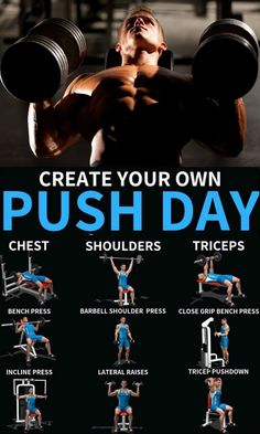 One major benefit of a push/pull plan is the increased frequency with which you hit your muscles. Push Pull Workout Routine, Push Day Workout, Gym Workout Tips, Gym Routine, Push Pull Legs Workout, Bodybuilding Routines, Weight Training Workouts, Muscle Fitness, Fitness Style