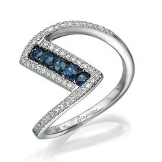 Unique Engagement Ring, Blue Sapphire Ring, Promise Ring, Sapphire Ring, Diamond Ring, Curved Ring, Twist ring, White Gold Ring, Band Ring