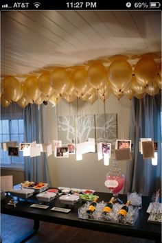 balloon chandelier that has meaningful photos hanging from the bottom. Of course using gold balloons with light pink string.