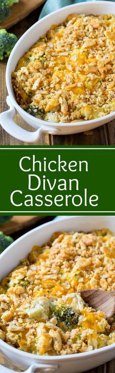 Chicken Divan Casserole Chicken (or turkey), broccoli, and cheese combine to make an easy and comforting casserole that makes a mouth-watering meal any night of the week. Chicken Divan Casserole, Casserole Dishes, Casserole Recipes, Broccoli Chicken Divan, Zuchinni Casserole, Chicken Divan Recipe, Turkey Casserole, Squash Casserole, Pasta Casserole