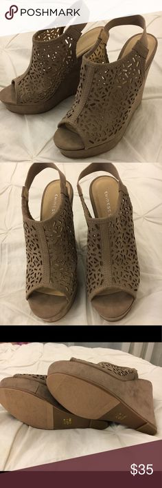 Chinese Laundry Tan Wedges Never worn Chinese Laundry wedges- price negotiable Chinese Laundry Shoes Wedges