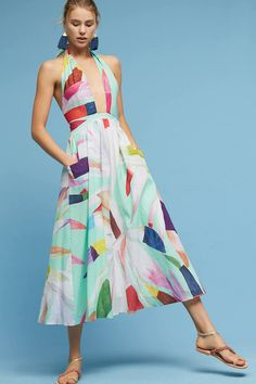 Mara Hoffman Miami Halter Cutout Midi Dress