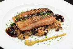 Salmon tataki with quinoa tabbouleh.