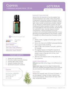 Cypress Essential Oil #cypress #doterra #essentialoil