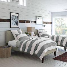 Contemporary Bedroom Decorating Tips Ideas! Bedroom Decorating Tips, Decorating Ideas, Decorating Websites, Decor Ideas, Striped Bedding, White Bedding, Deco Design, Design Design, Contemporary Bedroom