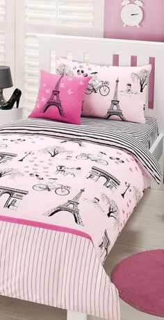 Cute Girl Bedroom Ideas - Your daughter will love a room filled with color, patterns, and cute accessories! Click through to find oh-so-pretty bedroom decorating ideas for girls of all ages. Cute Girls Bedrooms, Teenage Girl Bedroom Designs, Teenage Girl Bedrooms, Kid Bedrooms, Paris Bedding, Paris Bedroom, Small Room Bedroom, Small Rooms, Cozy Bedroom