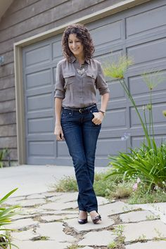 Banana Republic Petite Silk Camp Shirt -- and I love her necklace, jeans, and the PLANT!!
