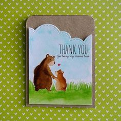 """A mother's day card using the """"Bear Hugs"""" stamp set from """"Mama Elephant""""."""