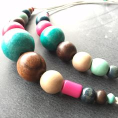 Heidi & Maisy Mummy & Daughter necklace set by The Beauty is in the Detail. #beads #chunky #colourful #jewellery #unique #oneoff
