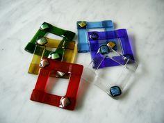 Servietten & Serviettenringe - Sechs bunte Serviettenringe aus Glas - ein Designerstück von Glaserin bei DaWanda