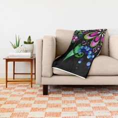 Bright Flower Doodle Throw Blanket by PamJuliArt | Society6