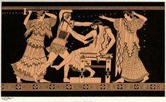 MEURTRE D'ÉGISTHE. EN   PRÉSENCE D'ÉLECTRE, ÉGISTHE EST IMMOLÉ PAR   ORESTE QUE MENACE CI.YTEMNESTRE. Chant I. 29 et suivants. Peinture d'une amphore de Vulci.   (Musée de Berlin.) >>> Notor (vicomte de Roton)