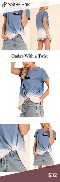 """✨1HRSALE Ombré With a Twist Slouchy Tee Top SML I'm in love with ombré clothing...especially this little indigo blue & ivory soft tee with a twisted front (great to camoflauge tummy) Wear with denim jeans, shorts, skirt or leggings. Nice flowy, slouchy relaxed fit. Absolutely a must have this season...you will want to live in it!!  55% cotton 45% polyester SML  Small 2/4 Bust 32-36 Length 28"""" Medium 6/8 Bust 36-40 Length 28.5"""" Large 10/12 Bust 40-42 Length 29"""" Tops"""