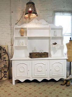 Painted Cottage Romantic Shabby White Vintage French China Cabinet CC363. $895.00, via Etsy.