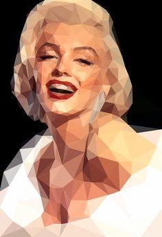 Marilyn Monroe in geometriс style - Paper print - Original Ilustration Pop Art Marilyn, Marilyn Monroe Painting, Marilyn Monroe Portrait, Marylin Monroe, Gravure Illustration, Art Et Illustration, Pop Art Portraits, Portrait Art, Art Sketches