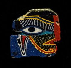 Egyptian glass mosaic Wadjet eye inlay, made from two halves, Ptolemaic period, c. 1st century, BCE