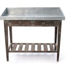 Weathered Wood Potting Table With Galvanized Metal Top    $312.00 @ http://www.antiquefarmhouse.com/current-sale-events/beautiful-metal.html