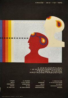 Poster announcing Polish and international Short Film Festival in Krakow, 30.05 – 7.06.1970. Designed by K. Majka
