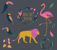 Jungle Bash Clip Art Tropical Botanical Wreath Lion Flamingo Birds Parrot Toucan Fruit Leaves Black Board Hand Drawn