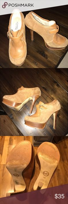Michael Kors heels Used but lots of life left. Camel brown leather and suede, gold buckle. Michael Kors Shoes Platforms
