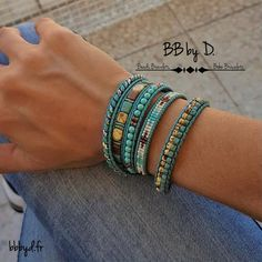 Leather and glass beads boho Hippie Wrap bracelet. Leather Cord Bracelets, Beaded Wrap Bracelets, Bohemian Bracelets, Seed Bead Bracelets, Leather Jewelry, Wire Jewelry, Boho Hippie, Hippie Style, Beaded Jewelry Designs