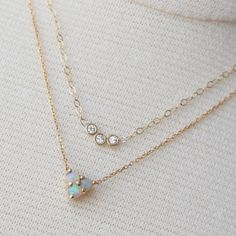 New arrival delicate minimalist three stone pendant double layer gold zircon opal necklace Opal Jewelry, Gold Jewelry, Jewelry Box, Jewelry Accessories, Jewelry Necklaces, Jewelry Design, Opal Necklace, Jewellery, Do It Yourself Fashion